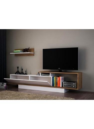 Dekorister Asos Tv Ünitesi Beyaz-Ceviz Renkli